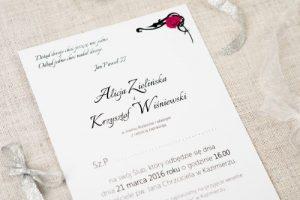 zaproszenie na ślub z kokardką różowe